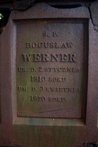 Epitafium Bogusława Wernera - grób Wernerów na cmentarzu w Seroczynie